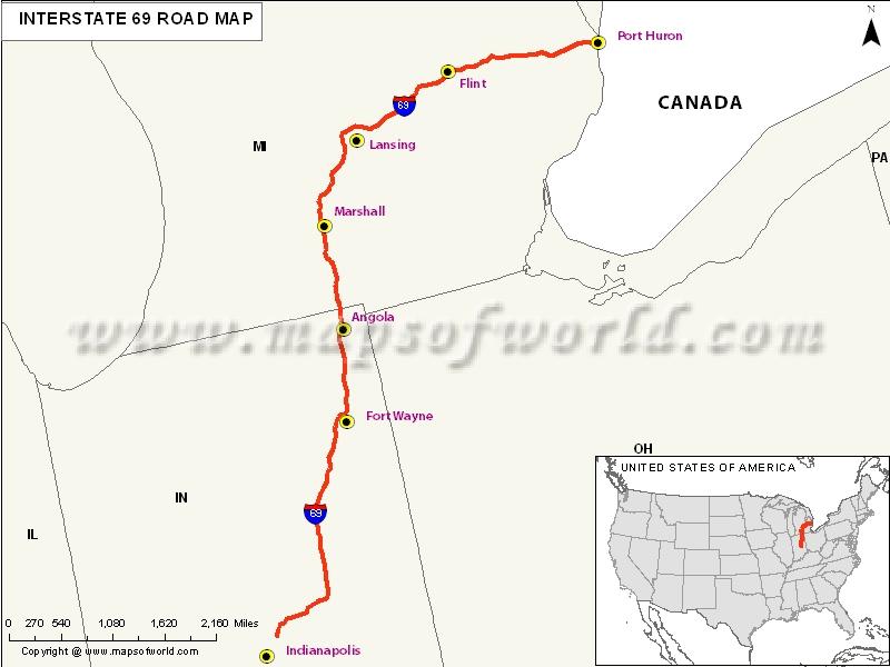 USA Interstate 69 Map