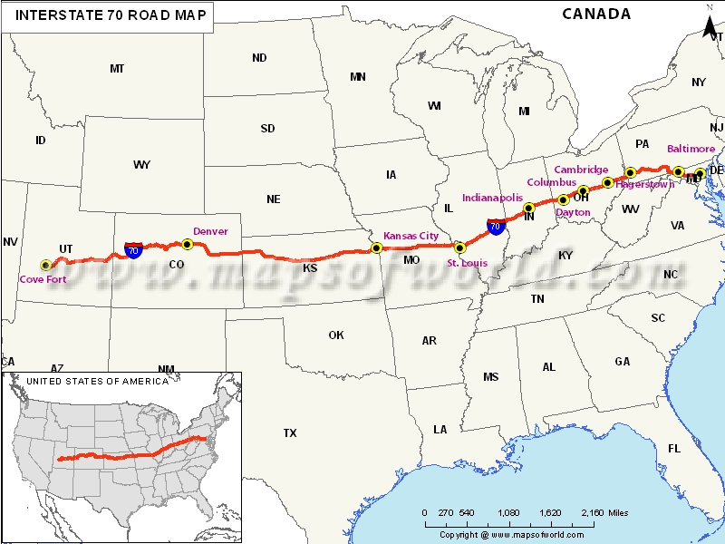 US Interstate 70 Map Cove Fort Utah to Baltimore Maryland – Interstate Weather Maps Travel
