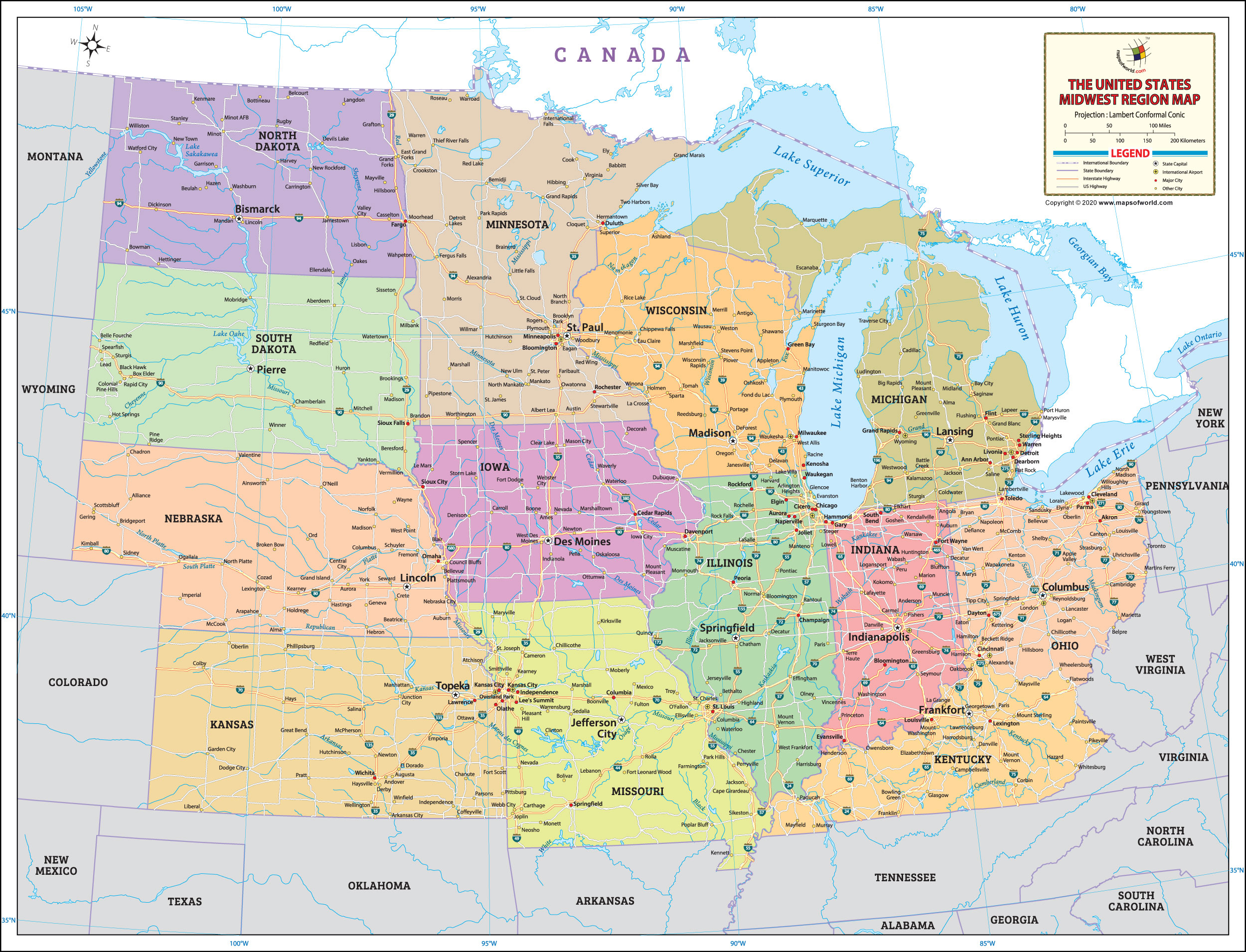 The Midwest Map, United States