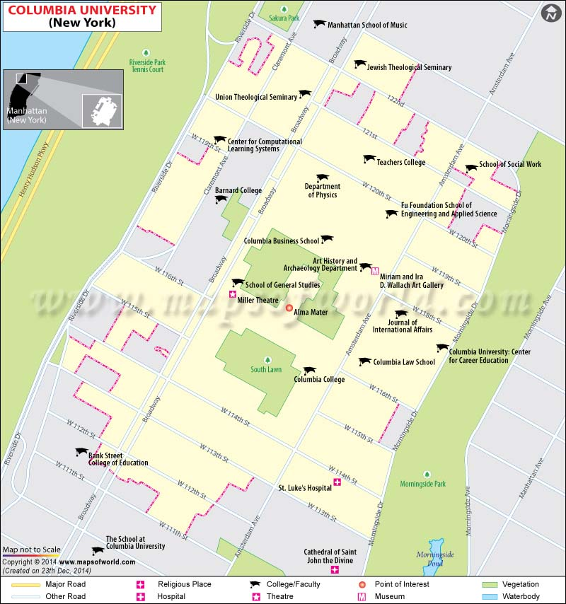 columbia university location map  address  where is located  history