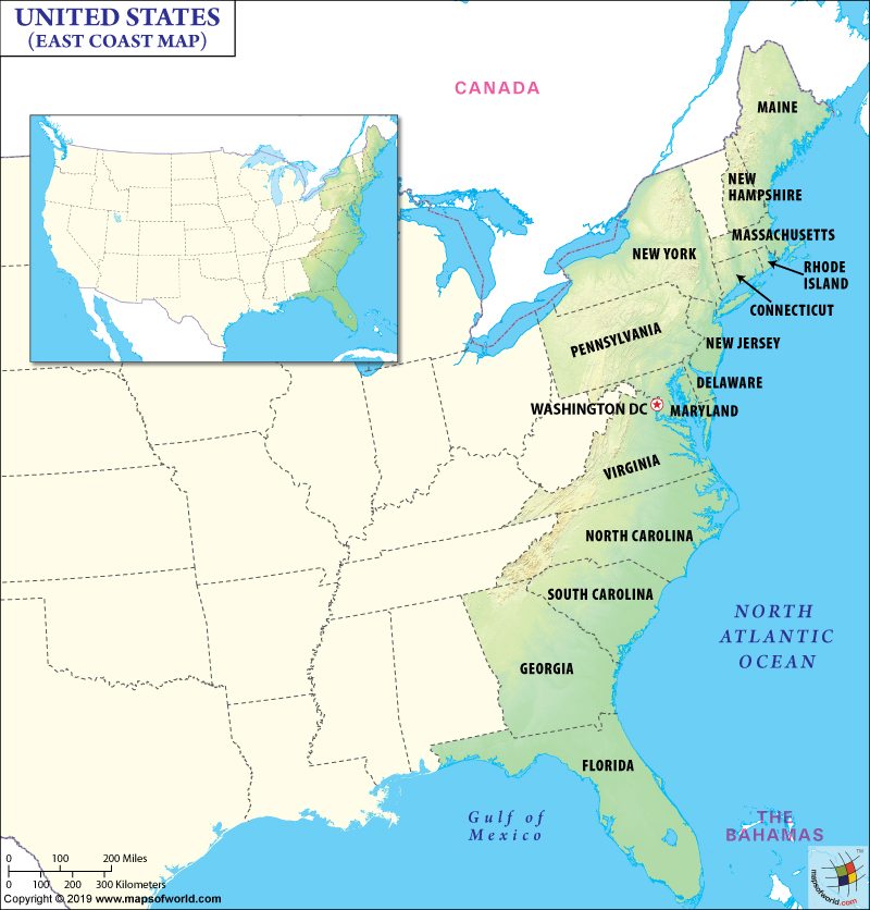 East Coast Map, Map of East Coast, East Coast States USA, Eastern US