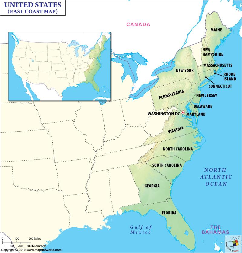 East Coast Map, Map of East Coast, East Coast States USA, Eastern US