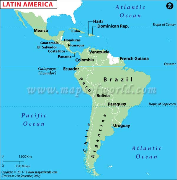 South America: Map Of Latin American Countries