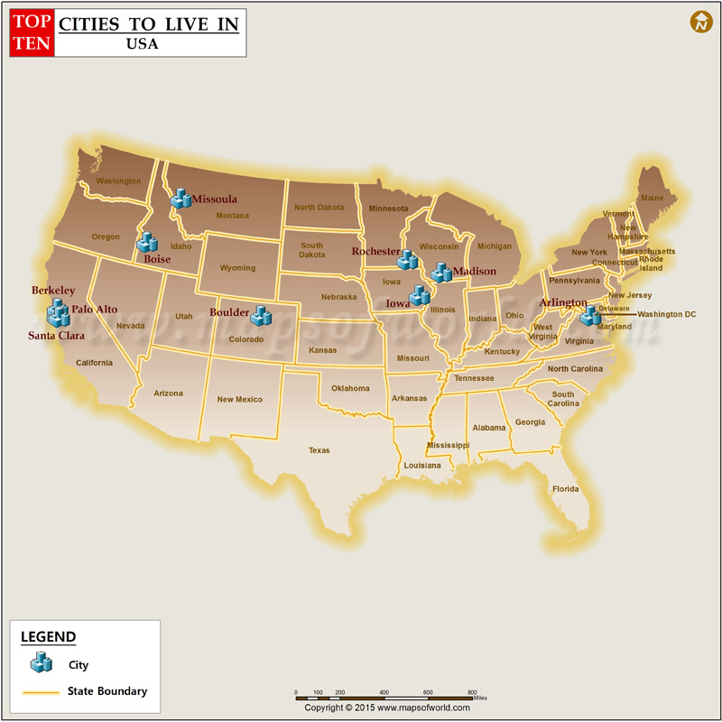 Top 10 cities to live in the us for Top 10 best places to live in usa