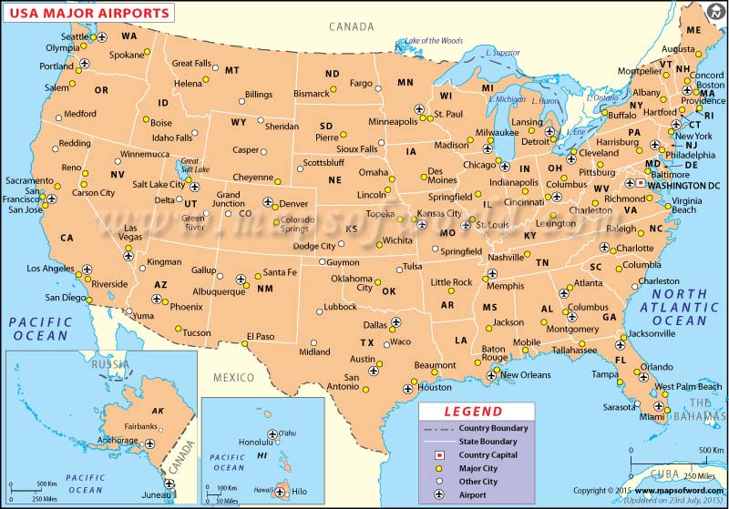 US Airports Map Airports in USA – Map Us Eastern Seaboard