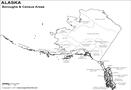 Black and White Alaska Borough Map