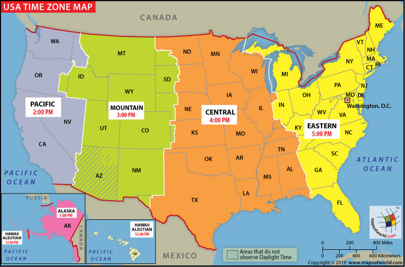 US Time Zone Map  United States Time Zones