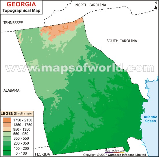 Georgia Topographic Map