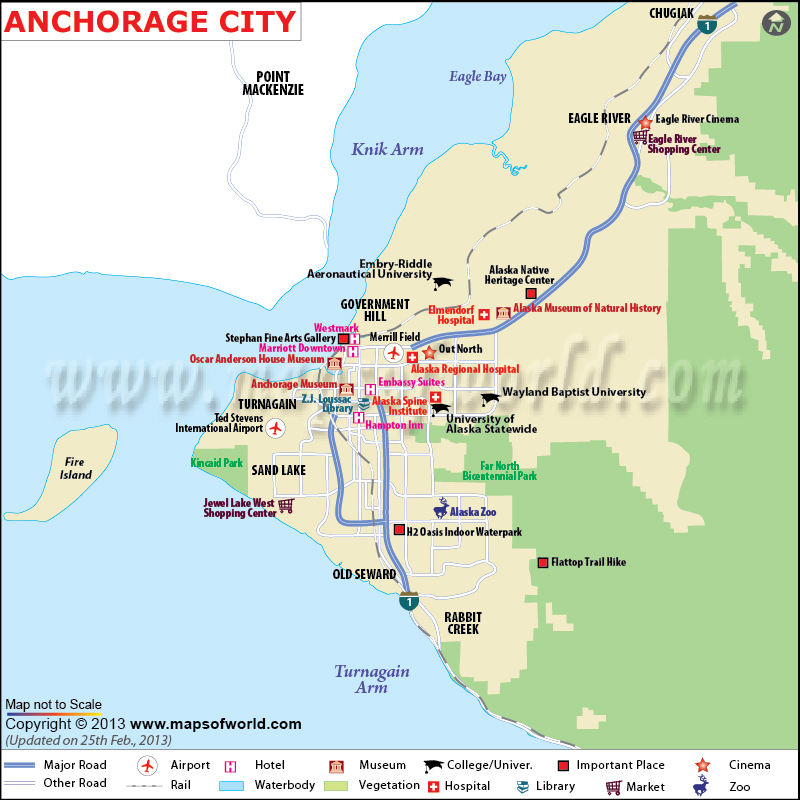 Anchorage Map Map of Anchorage Alaska – Tourist Attractions Map In Alaska