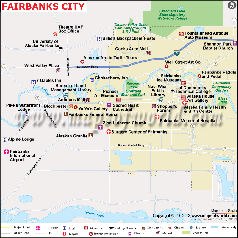 Fairbanks City Map Map of Fairbanks City Alaska – Tourist Attractions Map In Alaska