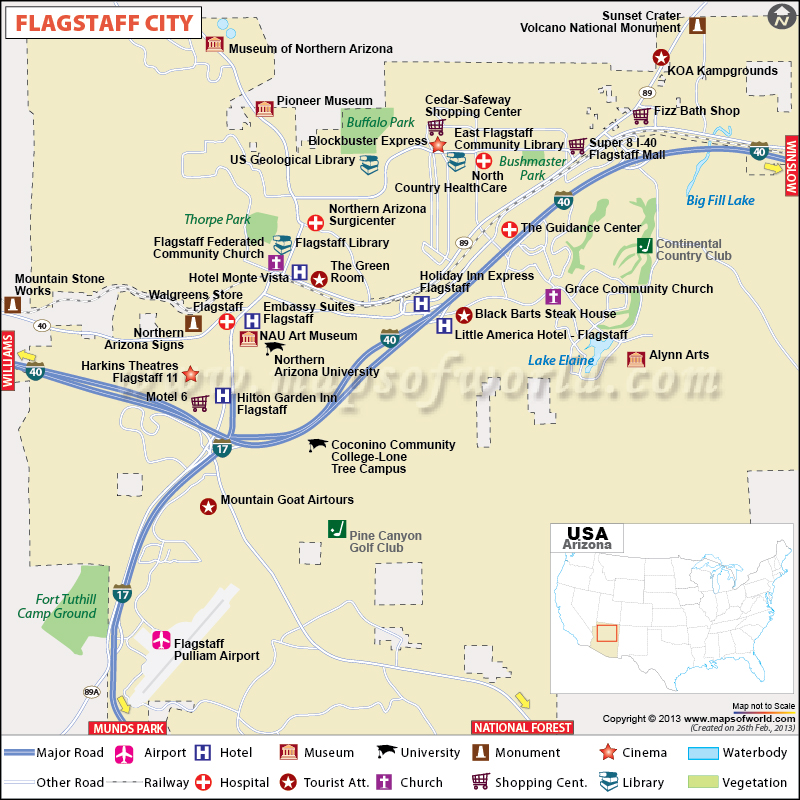 Description : Flagstaff map showing the Airport, Hotels, Roads, Rails ...