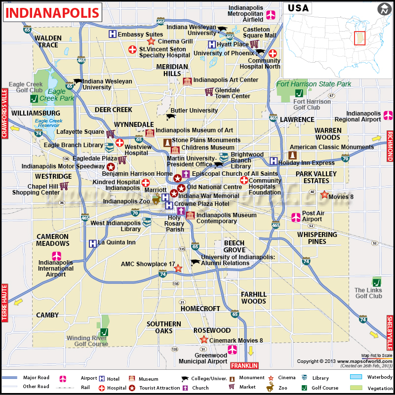Indianapolis Map Capital of Indiana Map of Indianapolis – Indianapolis Tourist Attractions Map