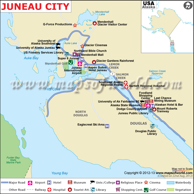 Juneau Map The Capital of Alaska Juneau City Map – Alaska Tourist Map
