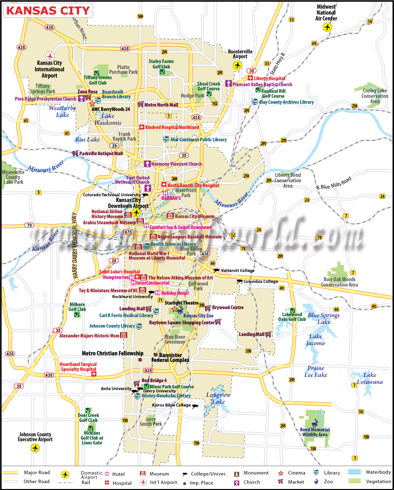 Kansas City Map Map of Kansas City Missouri – Missouri Tourist Attractions Map