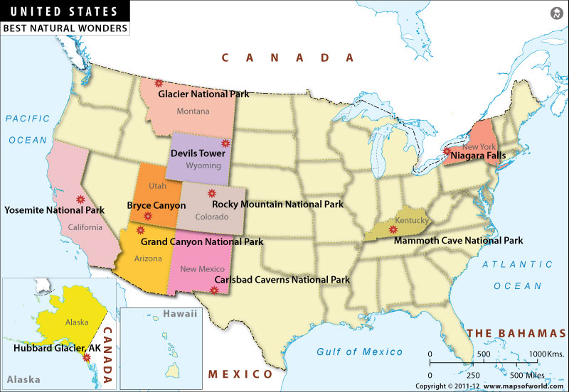 US Map - Natural Wonders of USA