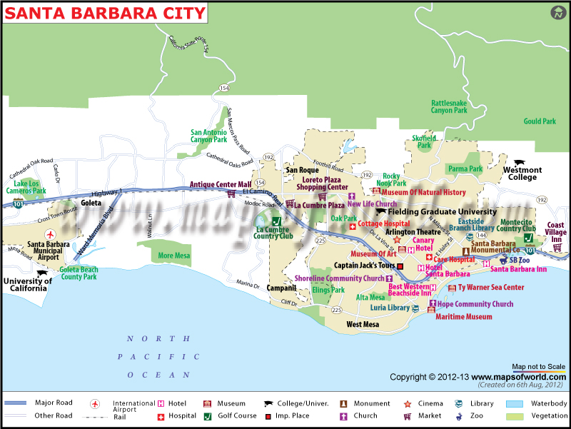 Santa Barbara City Map Map of Santa Barbara California – Santa Barbara Tourist Map