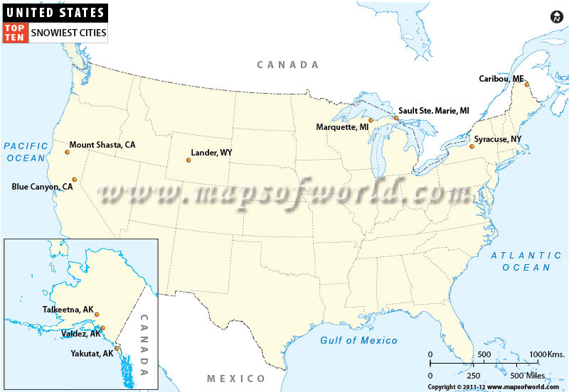 Map of Top Ten Snowiest Cities in USA