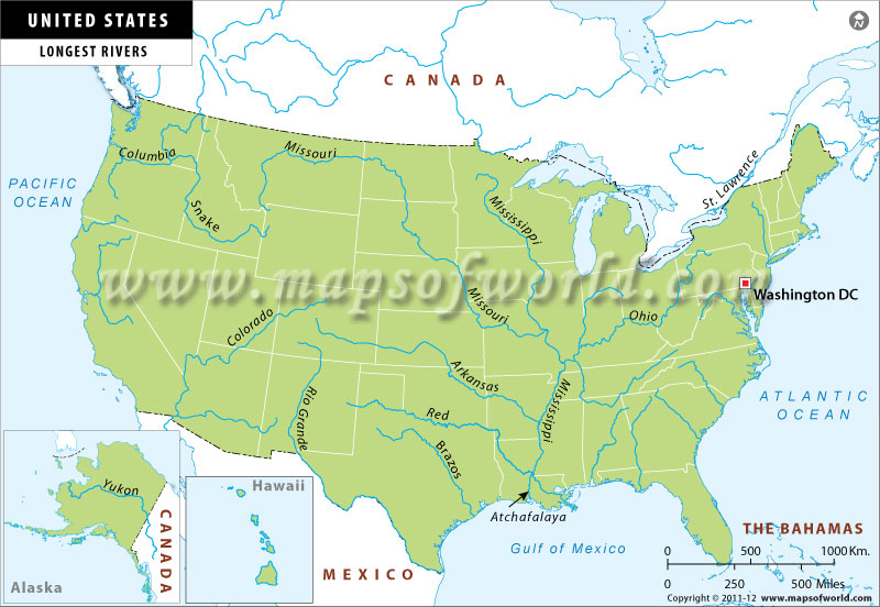 Map of Longest Rivers in USA