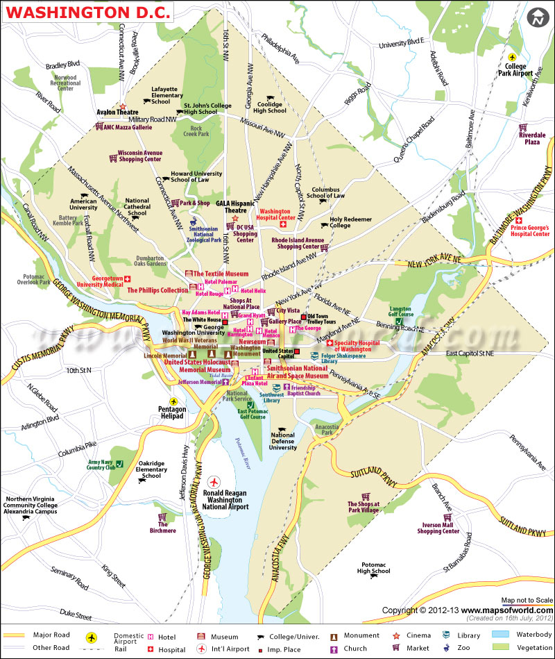 Washington DC Map – Map Of Tourist Attractions In Washington Dc