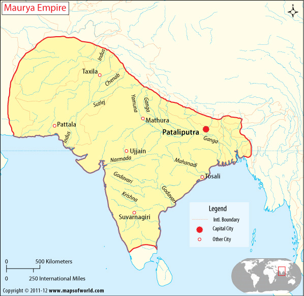 Ancient World History: Map of Maurya Empire