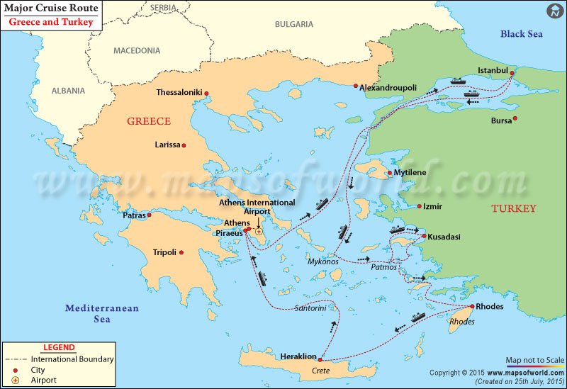 Major Cruise routes from Greece to Turkey