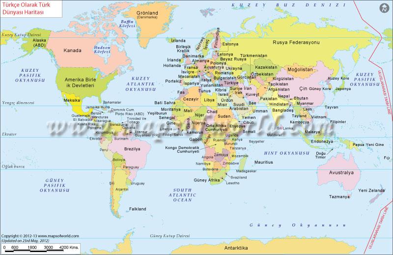 Dünya haritası Tüm ülkeler gösteren.