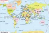 World Map in Danish