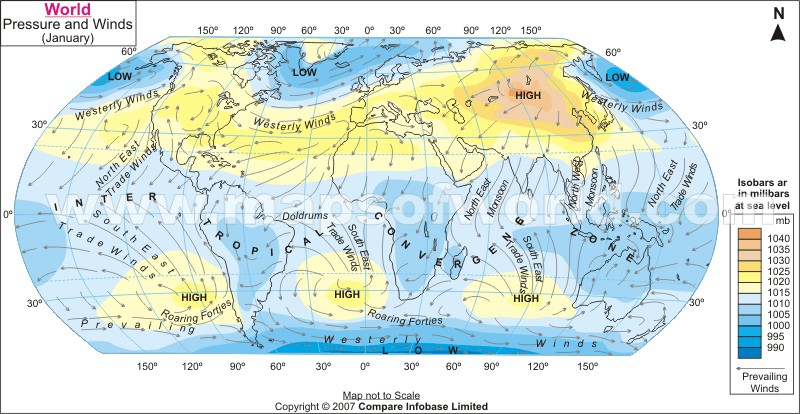 Pressure and Winds January Enlarge Map