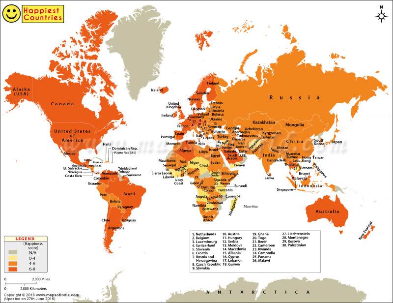 World Map Happiness Index