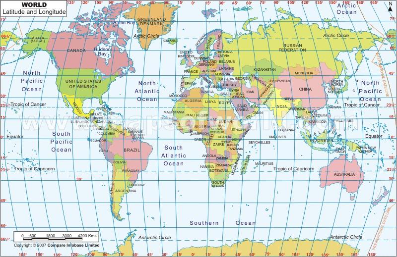 Maps: World Map With Latitude And Longitude