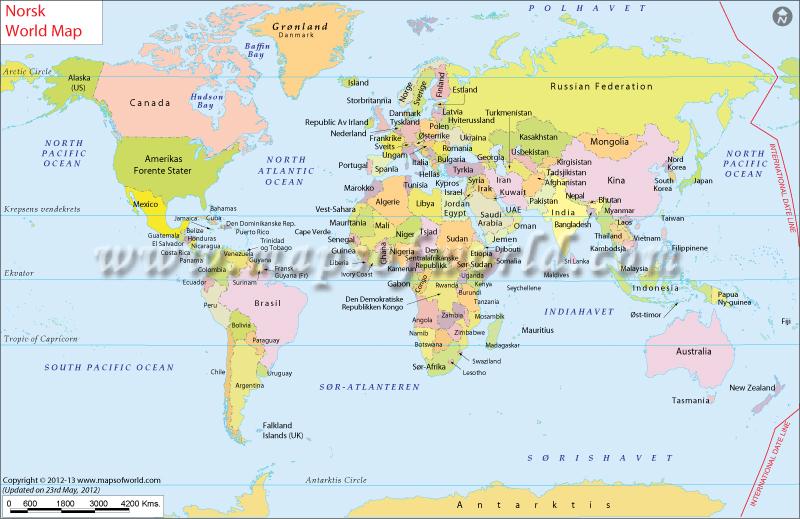 Verdenskart World Map in Norwegian – Dubai Location in World Map