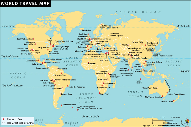 World Travel Destinations Map