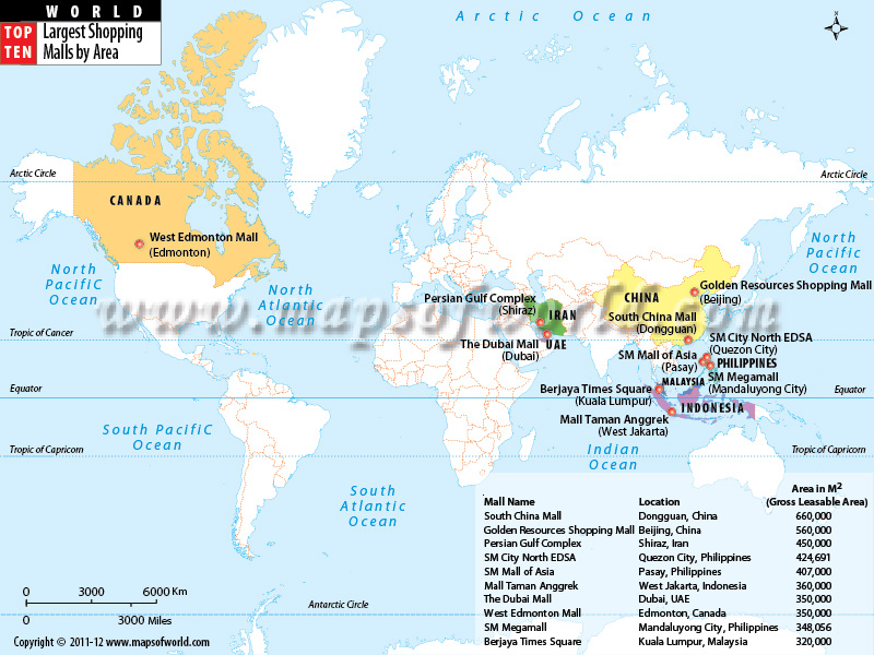Largest Shopping Malls in the World by Area World Top Ten – Map World Large