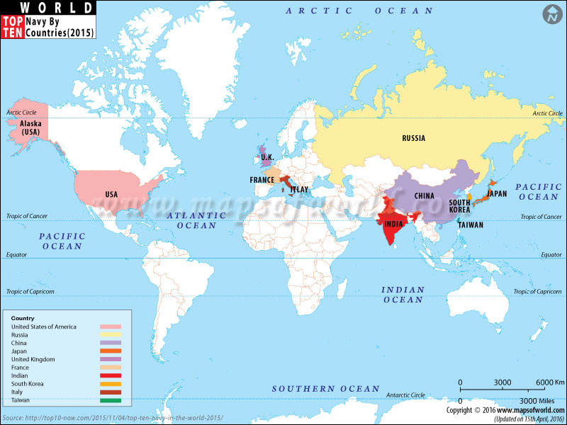 Map of Top Ten Countries With Largest Navies