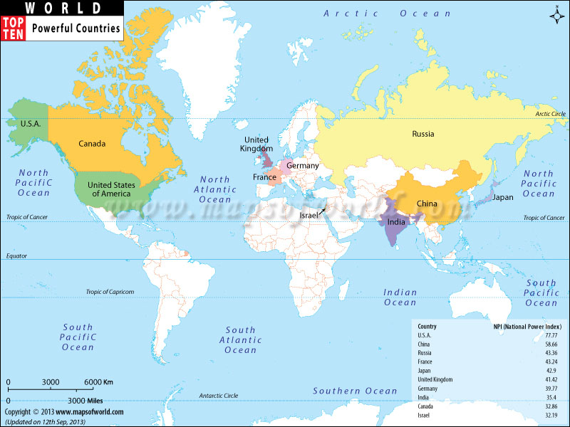 World Top Ten Most Powerful Countries Map