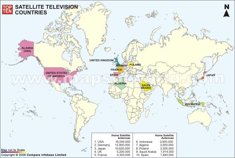 Top Ten Satellite Television Countries Map