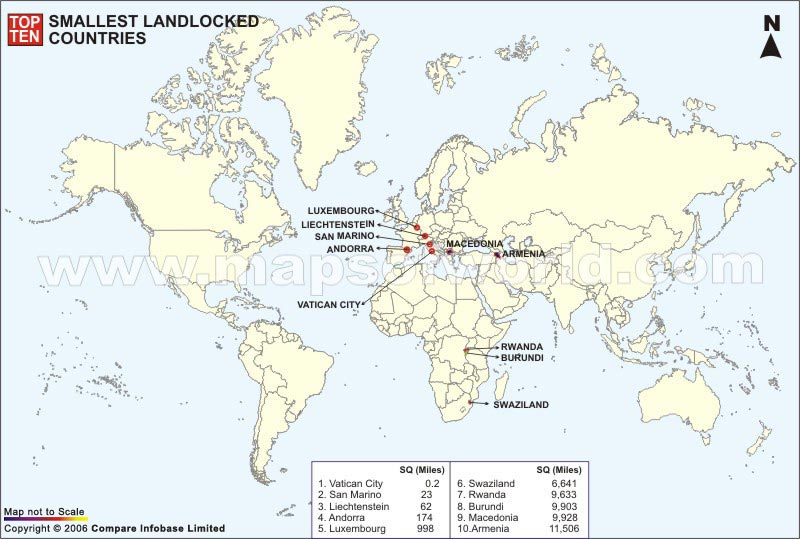 World Top Ten Smallest Landlocked Countries Map