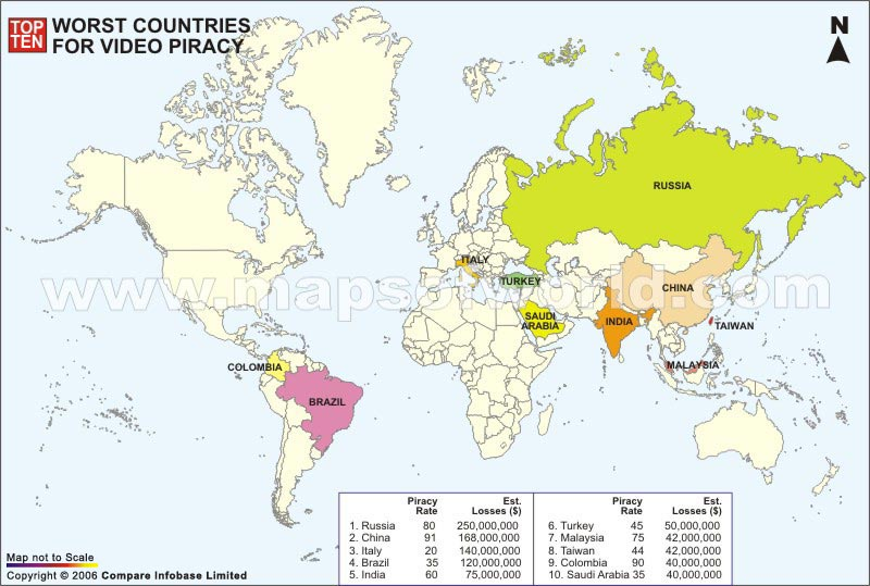 World Top Ten Worst Countries for Video Piracy Map